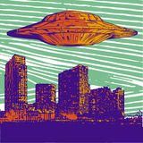 Dirigez l'UFO d'illustration avec le vol léger au-dessus de la ville la nuit illustration de vecteur
