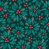 Dirigez la baie de houx vert-foncé, fond sans couture de modèle de vacances rouges Grand pour l'emballage orienté d'hiver, giftwr Photographie stock libre de droits