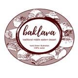 Dirigez la baklava du Moyen-Orient tirée par la main de dessert dans le cadre de label de cercle Photo libre de droits