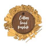 Dirigez la bannière avec le calibre de conseil en bois et les macaronis sur le fond Photos stock