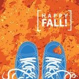 Dirigez la bannière avec les chaussures et les feuilles d'automne bleues Photo stock