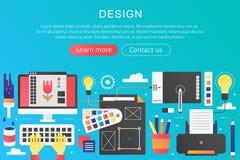 Dirigez la bannière créative de calibre de concept de construction de gradient d'art plat à la mode de couleur avec les icônes et Photographie stock