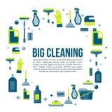 Dirigez la bannière d'articles de nettoyage dans le style plat avec la bouteille de jet, des approvisionnements bucket, de balai  Photos stock