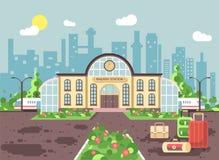 Dirigez la bannière d'illustration du bâtiment de gare ferroviaire de bande dessinée avec des sacs et des valises, départ de trai illustration de vecteur
