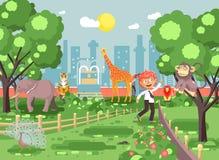 Dirigez la bannière d'illustration pour le site avec l'écolier sur la promenade, jardin zoologique d'excursion de zoo d'école, ga illustration libre de droits
