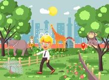 Dirigez la bannière d'illustration pour le site avec l'écolier sur la promenade, jardin zoologique d'excursion de zoo d'école, pe illustration libre de droits