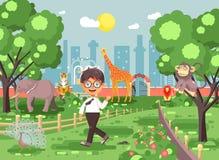 Dirigez la bannière d'illustration pour le site avec l'écolier sur le jardin zoologique d'excursion de zoo d'école de promenade,  illustration libre de droits