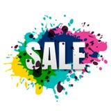 Dirigez la bannière d'isolement de vente, badge, la marquez avec l'aquarelle colorée Photo stock