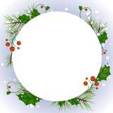 Dirigez la bannière de Noël avec le bouvreuil et les flocons de neige blancs illustration stock