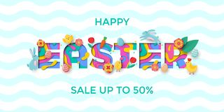 Dirigez la bannière de vente de Pâques du lettrage des textes de coupe de papier avec l'oeuf de papercut de Pâques, lapin, poussi illustration stock