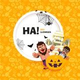 Dirigez la bannière Halloween heureux avec les caractères dans un style plat Photos libres de droits