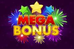 Dirigez la bannière MÉGA de BONIFICATION pour des jeux de loterie ou de casino Photos stock
