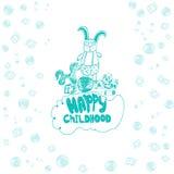 Dirigez la bannière puérile avec le lapin en verres, cheval, bavoir, boule et cubes dans le style de griffonnage EPS10 Photos libres de droits