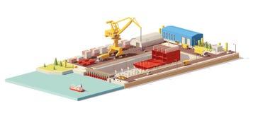 Dirigez la basse poly construction de bateau dans le dock sec Photographie stock