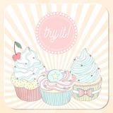 Dirigez la belle affiche dans la rétro conception avec des petits gâteaux de delicios Photographie stock libre de droits
