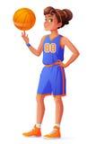 Dirigez la boule de rotation de jeune jolie fille de joueur de basket sur le doigt illustration libre de droits