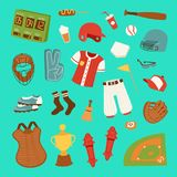 Dirigez la boule de vêtements de joueur de jeu de baseball de bande dessinée, le gant et le jeu uniformes du base-ball de symbole Images libres de droits