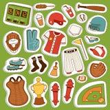 Dirigez la boule de vêtements de joueur de jeu de baseball de bande dessinée, le gant et le jeu uniformes du base-ball de symbole Photographie stock