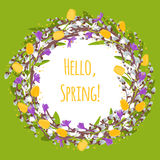Dirigez la branche de saule avec le saule de chat, crocus, perce-neige, tulipe Image libre de droits