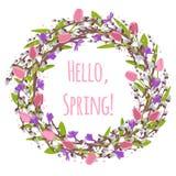 Dirigez la branche de saule avec le saule de chat, crocus, perce-neige, tulipe Photographie stock libre de droits