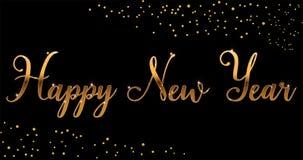 Dirigez la brosse lumineuse de bonne année d'or marquant avec des lettres le texte sur le fond noir, pour des salutations, des ca photographie stock libre de droits