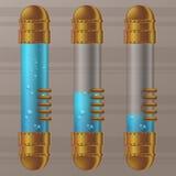 Dirigez la capsule transparente d'en cuivre et en verre de steampunk avec le liquide bleu avec des bulles Image stock