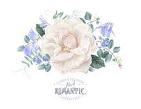 Dirigez la carte avec la rose de blanc et les fleurs bleues illustration de vecteur
