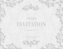 Dirigez la carte blanche d'invitation du vintage 3d avec le modèle floral de damassé illustration de vecteur