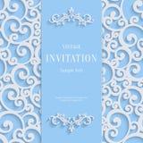 Dirigez la carte bleue d'invitation du vintage 3d avec le modèle de damassé de remous illustration libre de droits