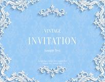 Dirigez la carte bleue d'invitation du vintage 3d avec le modèle floral de damassé illustration de vecteur