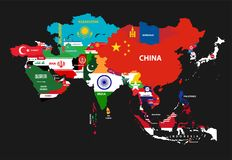 dirigez la carte continente de l'Asie avec des pays mélangés à leurs drapeaux nationaux illustration libre de droits