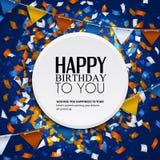 Dirigez la carte d'anniversaire avec des drapeaux de confettis et d'étamine Photos stock