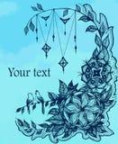 Dirigez la carte d'illustration avec le zentangle floral, gribouillant Photographie stock