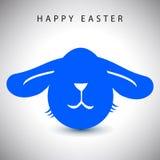 Dirigez la carte d'illustration de l'oeuf aux grandes oreilles bleu de lapin de Pâques avec le nez blanc Photographie stock