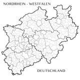 Dirigez la carte de l'État fédéral du Rhin du nord Westphalie, Allemagne illustration de vecteur