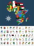 Dirigez la carte de l'Afrique s'est mélangé aux drapeaux de pays La collection de toutes les cartes africaines a combiné avec des Photo libre de droits