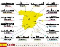 Dirigez la carte de l'Espagne avec des silhouettes d'horizons des plus grandes villes illustration libre de droits