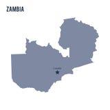 Dirigez la carte de la Zambie d'isolement sur le fond blanc Photo libre de droits