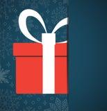Dirigez la carte de Noël et le fond rouge de décoration de boîte-cadeau illustration libre de droits