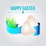 Dirigez la carte de Pâques avec le ruban, les oeufs et le ressort Photographie stock