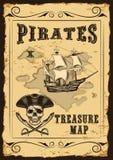 Dirigez la carte de trésor avec un bon nombre de décoration tirés par la main avec incroyable illustration libre de droits