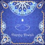 Dirigez la carte de voeux au festival des lumières indien Diwali heureux Photos stock