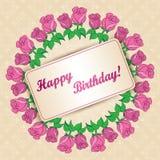 Dirigez la carte de voeux avec le cadre des roses pour l'anniversaire illustration de vecteur