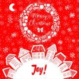 Dirigez la carte de voeux de Noël avec des maisons placées autour de la moitié de la planète, ensemble de maisons mignonnes de ve Photos stock