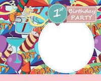 Dirigez la carte de voeux de fête d'anniversaire de Th du bébé 1 Brightl coloré illustration de vecteur