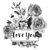 Dirigez la carte de voeux florale de vintage de ressort avec le bouquet des roses illustration libre de droits