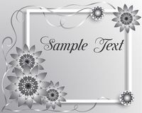 Dirigez la carte de voeux de l'illustration 3D avec les fleurs géométriques argentées photo libre de droits