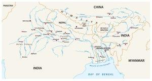 Dirigez la carte des bassins de captation combinés du Gange, Brahma illustration de vecteur