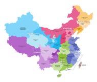 Dirigez la carte des provinces de la Chine colorées par des régions illustration stock