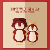 Dirigez la carte du jour de valentines avec l'illustration de deux pingouins rouges dans le cadre carré Photographie stock